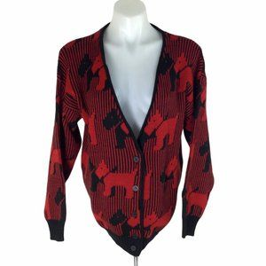 Contempo Casuals Cardigan Red Black Terrier dog